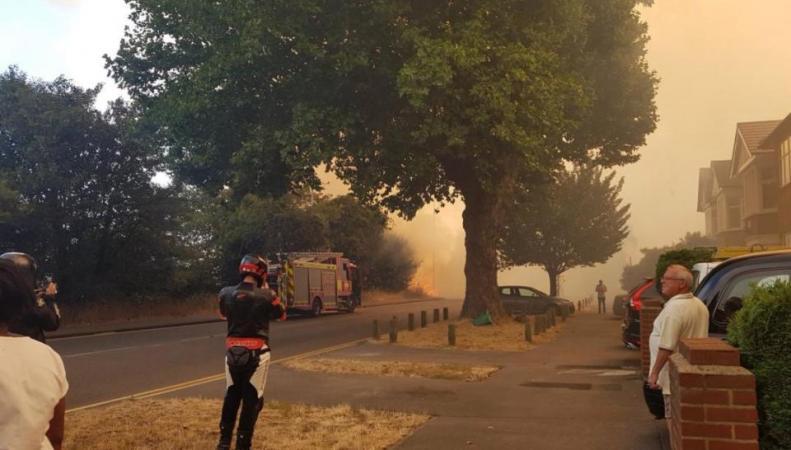 Пожарные тушат траву на востоке Лондона