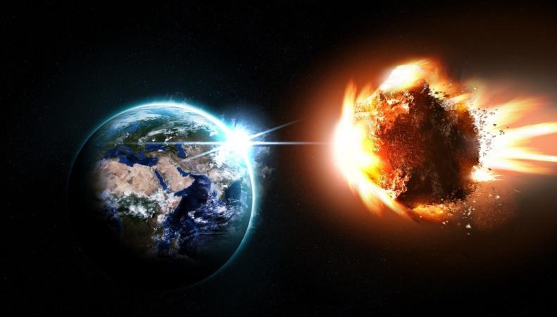 Земля и метеорит