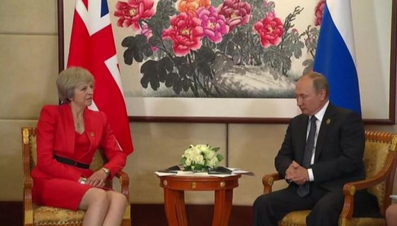 В Китае состоялась первая встреча Терезы Мэй с Владимиром Путиным фото:bbc.com