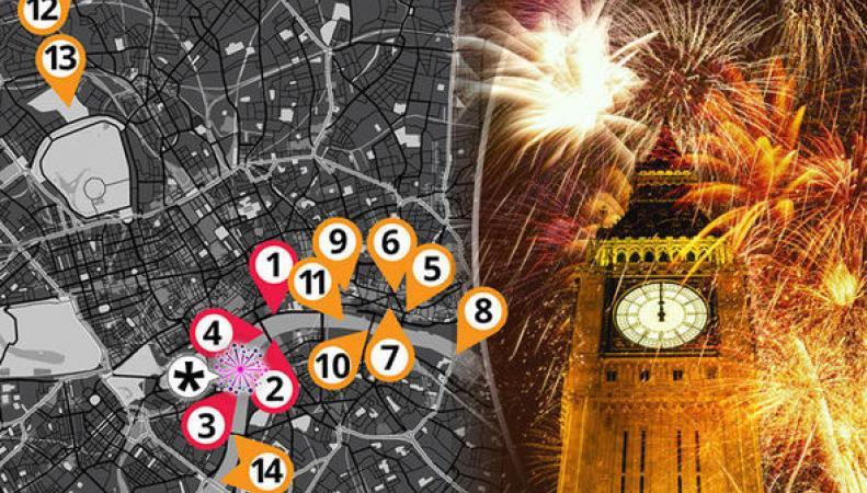 Названы лучшие места для просмотра Новогоднего фейерверка в Лондоне фото:express.co.uk