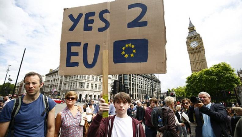 В Лондоне начались уличные протесты против признания результатов референдума фото:dailymail.co.uk