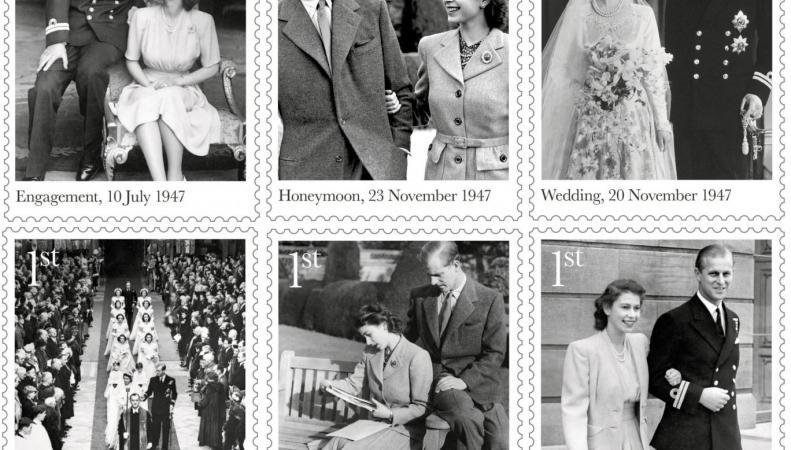 Royal Mail выпустила специальную серию марок к платиновому юбилею королевской свадьбы